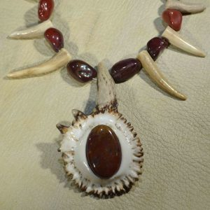 Bloodstone Mookite Elk Necklace