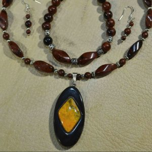 Bumblebee Jasper & Water Buffalo Horn Gemstone Jewelry Set