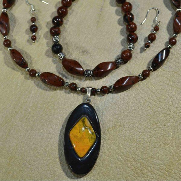 Bumblebee Jasper & Water Buffalo Horn Gemstone Jewelry Set