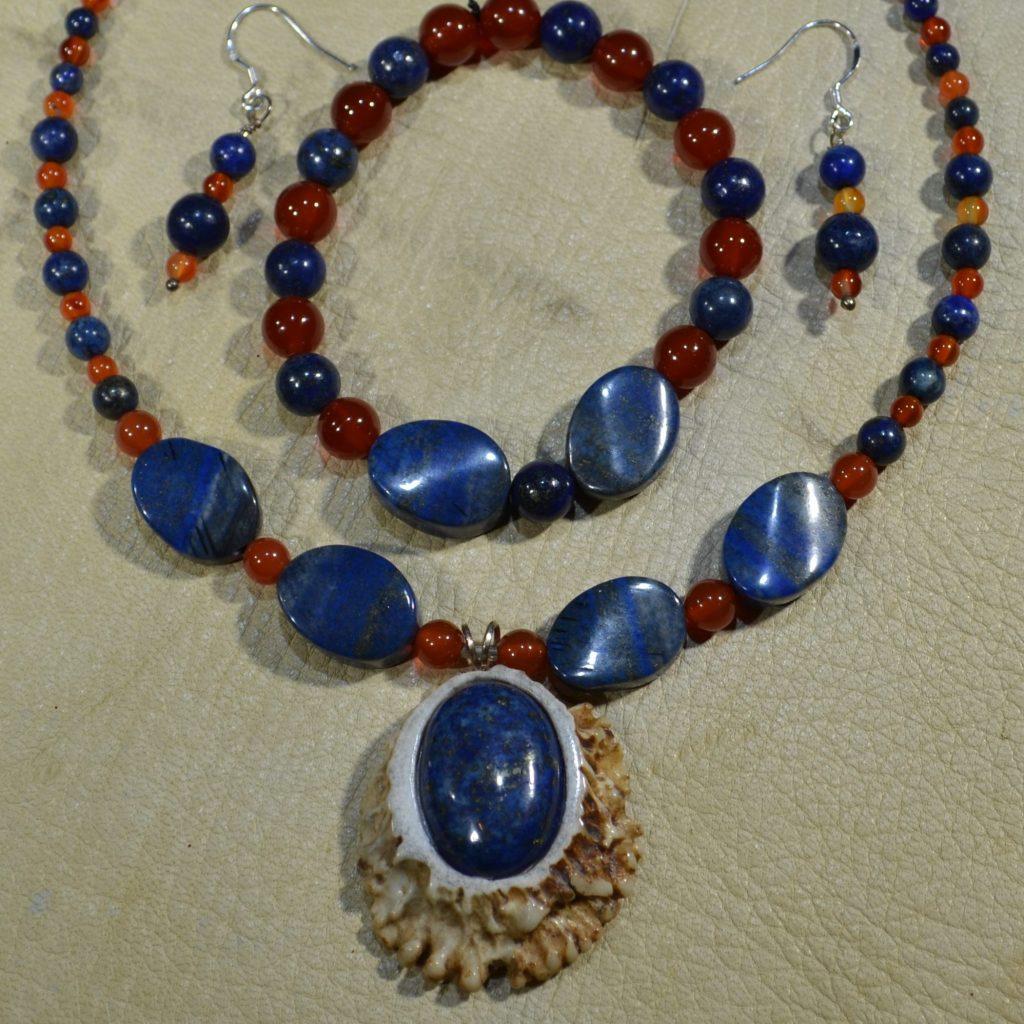 Lapis Lazuli & Carnelian Gemstone Jewelry Set