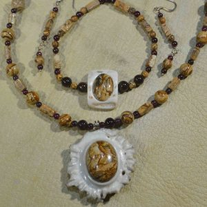 Picture Jasper & Garnet Gemstone Jewelry Set