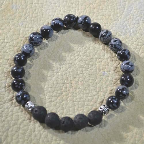 Snowflake Obsidian Aromatherapy Bracelet